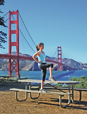 Picture of Tracy Hicks Owner of Scenic Fit doing Lateral Step-ups with view of Golden Gate Bridge