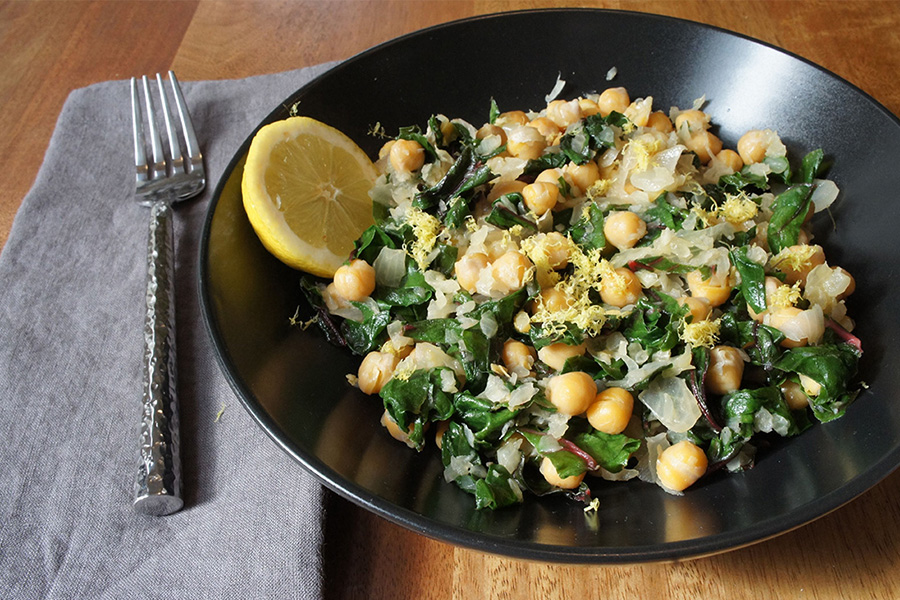 Picture of Lemony Pan Fried Chickpeas and Chard from the recipe blog on the Healthy Eats Page of the San Francisco Scenic Fit outdoor fitness training groups website