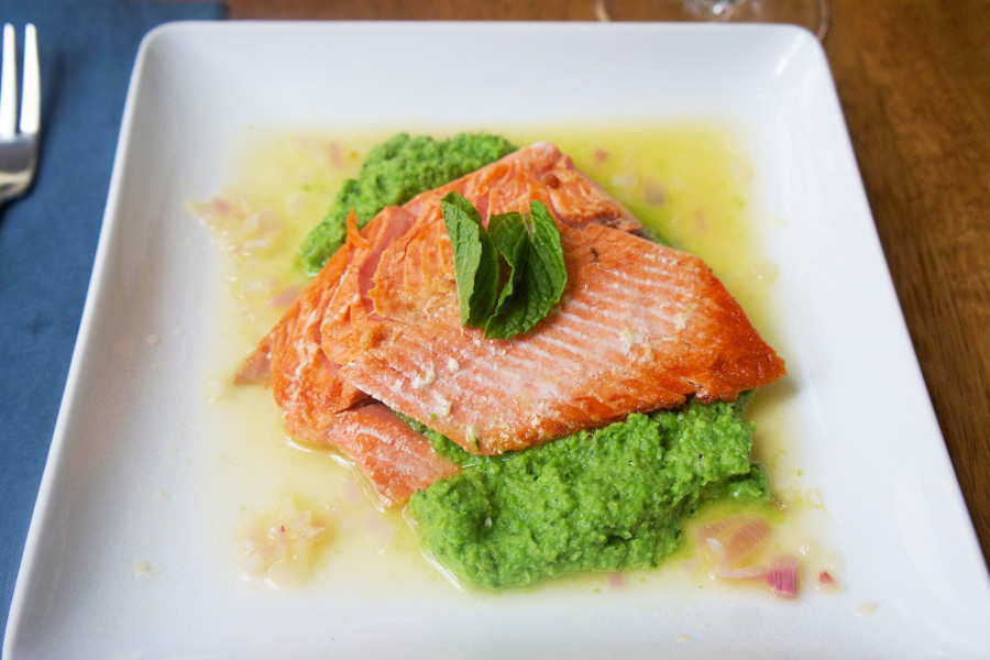 Picture of Salmon with Mint Pea Puree from the recipe blog on the Healthy Eats Page of the San Francisco Scenic Fit outdoor fitness training groups website