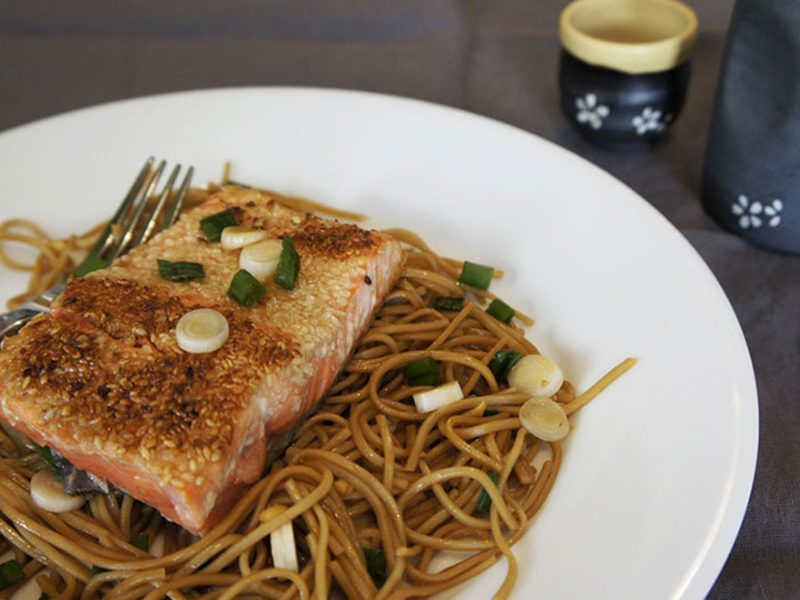 Picture of Salmon Over Soba Noodles recipe from the recipe blog on the Healthy Eats Page of the San Francisco Scenic Fit outdoor fitness training groups website