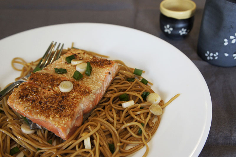 Picture of Salmon Over Soba Noodles from the recipe blog on the Healthy Eats Page of the San Francisco Scenic Fit outdoor fitness training groups website