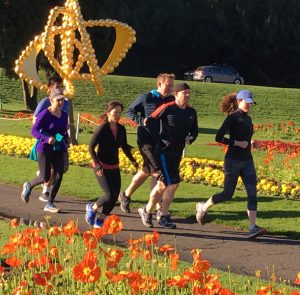 Picture of Scenic Fit clients running at the Conservatory of Flowers in Golden Gate Park.