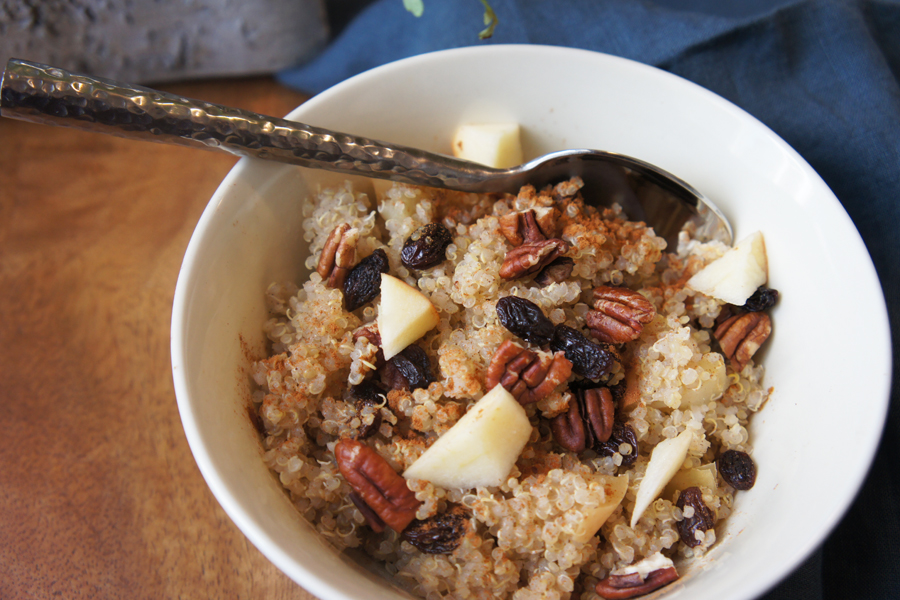 Picture of quinoa breakfast cereal with apples, cinnamon, raisins and nuts recipe from the recipe blog on the Healthy Eats Page of the San Francisco Scenic Fit outdoor fitness training groups website