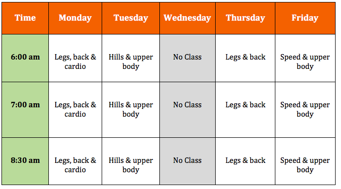 Scenic Fit Daily Schedule