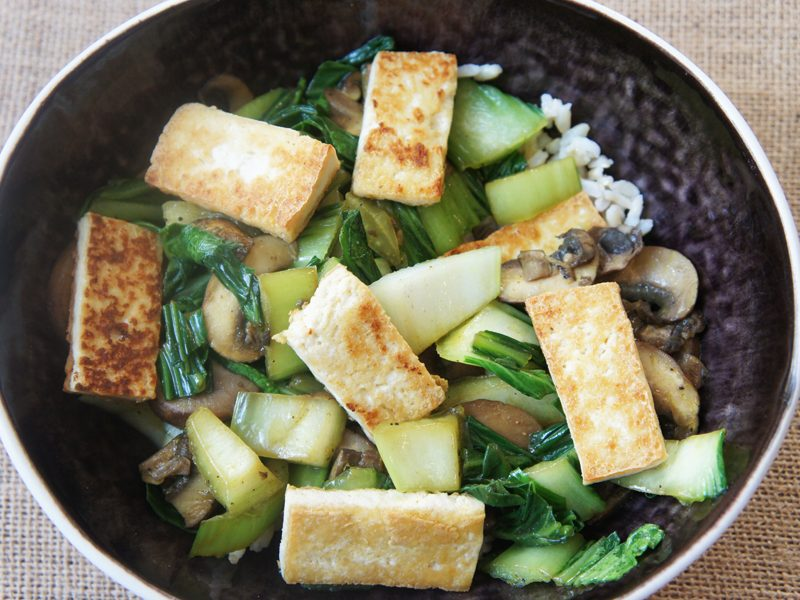 Picture of Tofu Mushrooms and Bok Choy recipe from the recipe blog on the Healthy Eats Page of the San Francisco Scenic Fit outdoor fitness training groups website