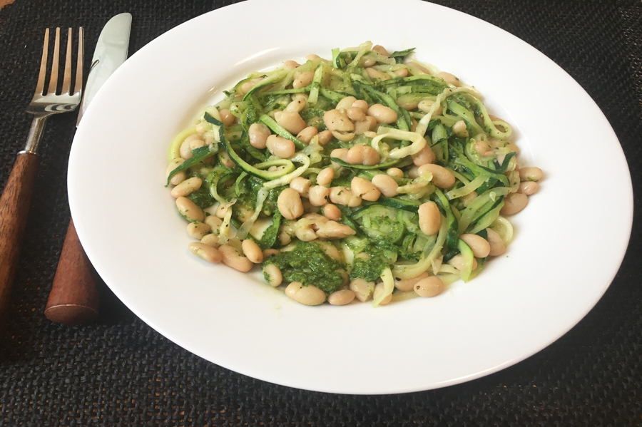 Picture of Zucchini Noodles with White Beans and Arugula Pesto recipe from the recipe blog on the Healthy Eats Page of the San Francisco Scenic Fit outdoor fitness training groups website