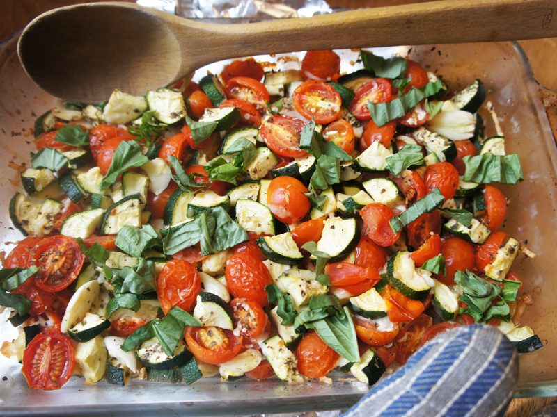 Picture of zucchini tomato bake from the recipe blog on the Healthy Eats section of the San Francisco Scenic Fit outdoor fitness training group website
